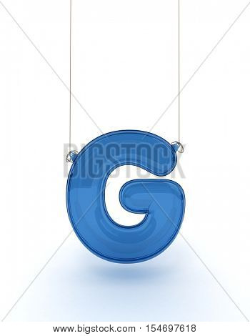 g letter from a hanging alphabet 3D rendering