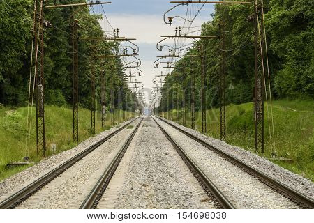 Two Parallel Railroad Tracks Converging On The Horizon