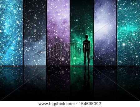 Universe, stars, constellations, planets and a human or an alien shape. Space backgrounds abstract collection.