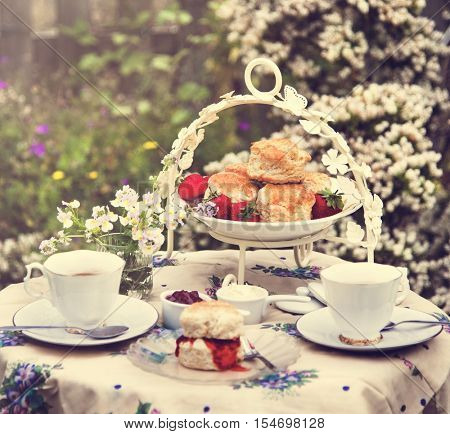 Tea Break Scone Strawberry Jam Garden Outdoors Concept