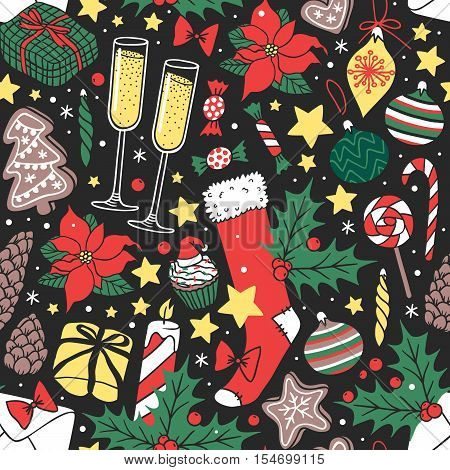 Vector background Christmas seamless pattern hand drawn style. Holiday wallpaper decoration Christmas seamless pattern. Merry christmas seamless pattern paper ornament winter card.