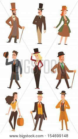 Vector design of collection of vintage victorian people. Style fashion old people vector victorian gent people. Gentleman clothing antique century character victorian gent people vintage style.