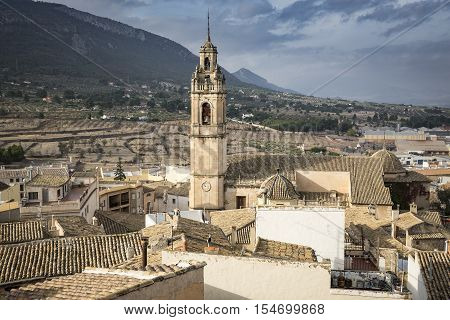 a view over Biar medieval town and La Suposición church, province of Alicante, Spain