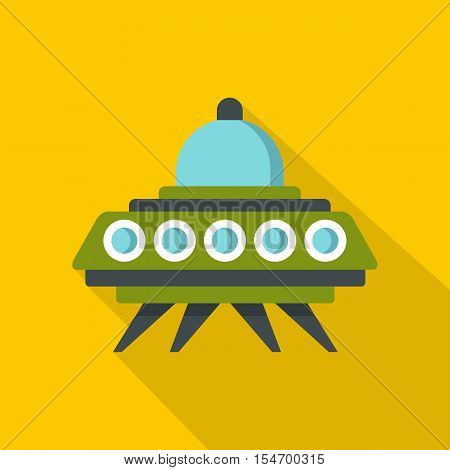 Alien spaceship icon. Flat illustration of alien spaceship vector icon for web isolated on yellow background