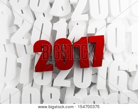 Red 2017 text on white previous years. 3d rendering.