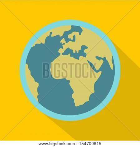 Blue planet Earth icon. Flat illustration of planet Earth vector icon for web isolated on yellow background
