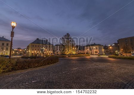 Krasna Lipa town in north Bohemia in autumn morning time