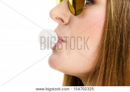 Woman Doing Bubble With Chewing Gum