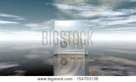 rss symbol in glass cube under cloudy blue sky - 3d illustration