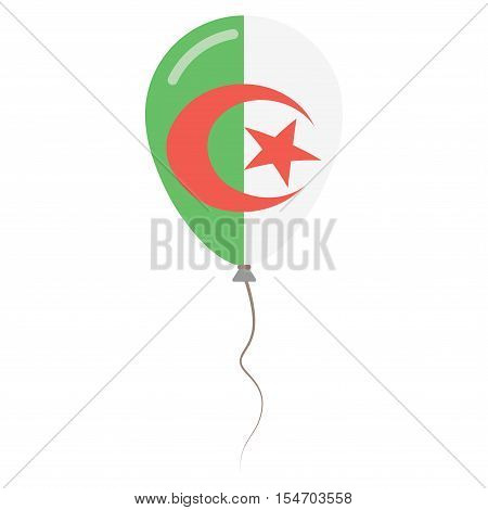 People's Democratic Republic Of Algeria National Colors Isolated Balloon On White Background. Indepe