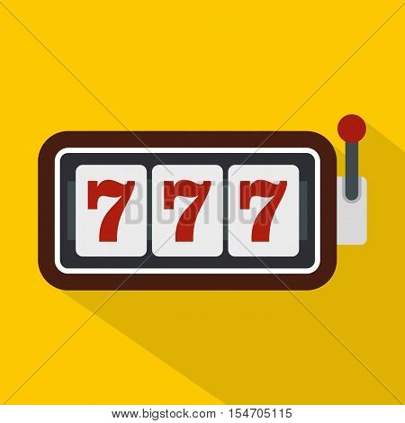 Slot machine with three sevens icon. Flat illustration of slot machine with three sevens vector icon for web isolated on yellow background