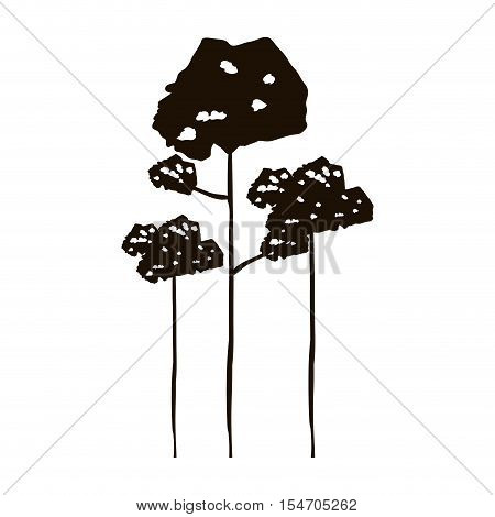monochrome forest with leafy trees vector illustration