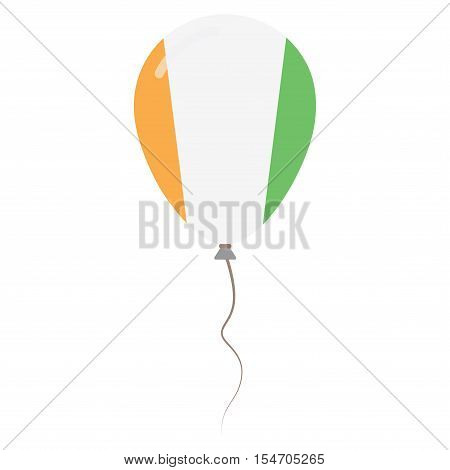 Republic Of Ivory Coast National Colors Isolated Balloon On White Background. Independence Day Patri