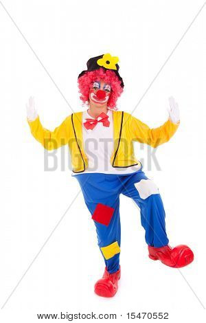 funny circus clown dancing (isolated on white)