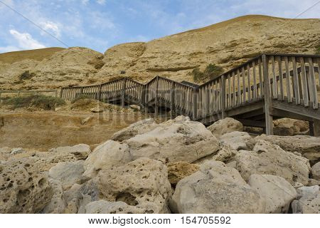 Stairs And Cliffs At Port Willunga, South Australia At Sunset