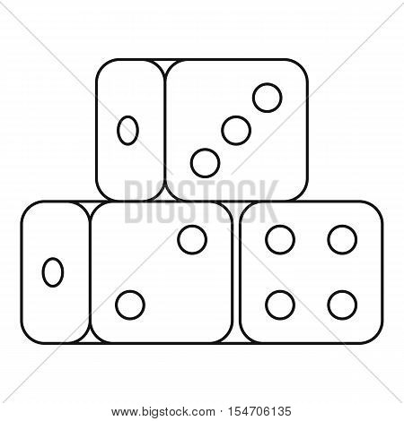 Dice cubes icon. Outline illustration of dice cubes vector icon for web