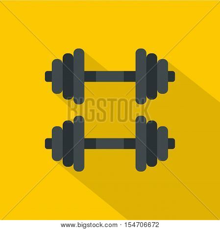 Two barbells icon. Flat illustration of two barbells vector icon for web isolated on yellow background