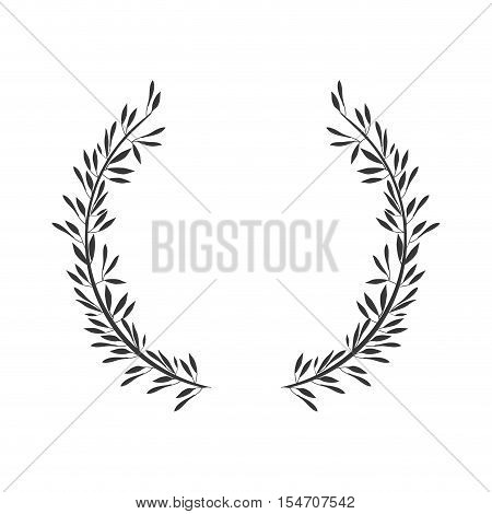 gray scale crown formed with two olive branch vector illustration