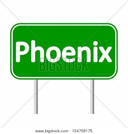 Phoenix green road sign isolated on white background