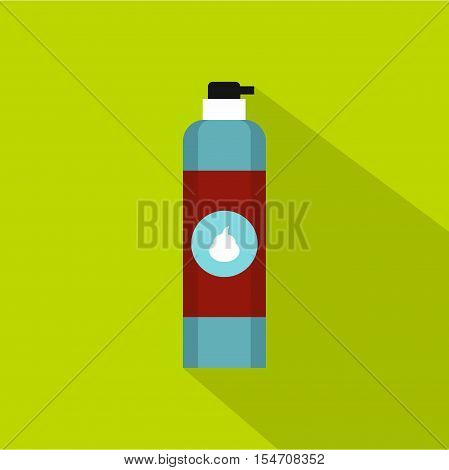 Shaving foam bottle icon. Flat illustration of shaving foam bottle vector icon for web isolated on green background