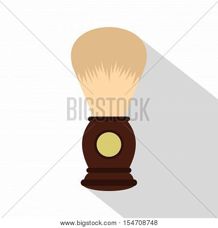 Wooden shaving brush icon. Flat illustration of wooden shaving brush vector icon for web isolated on white background