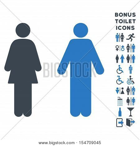 WC Persons icon and bonus male and female restroom symbols. Vector illustration style is flat iconic bicolor symbols, smooth blue colors, white background.