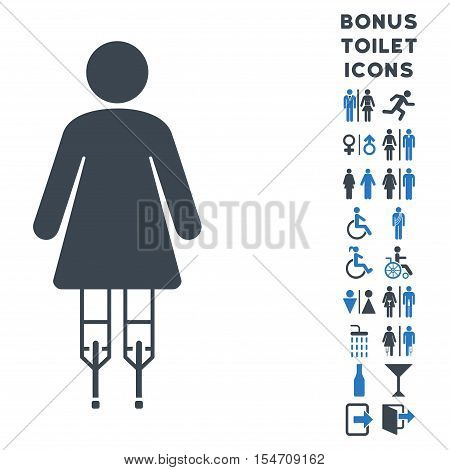 Woman Crutches icon and bonus male and lady restroom symbols. Vector illustration style is flat iconic bicolor symbols, smooth blue colors, white background.