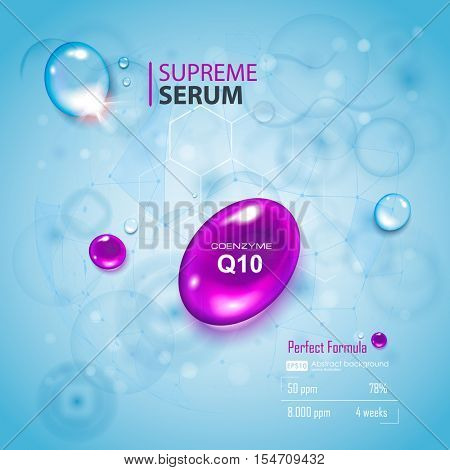 Coenzyme Q10. Supreme collagen oil drop essence with DNA helix. Premium shining serum droplet. Hyaluronic acid energy boost moisturizing collagen design.