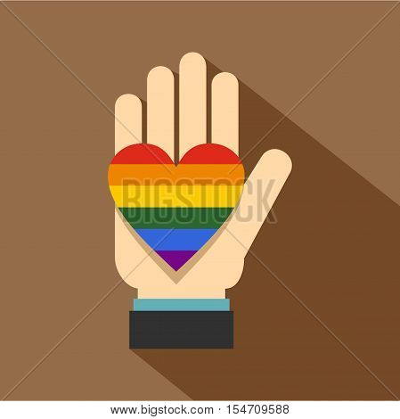 Hand holding heart of LGBT icon. Flat illustration of hand holding heart of LGBT vector icon for web