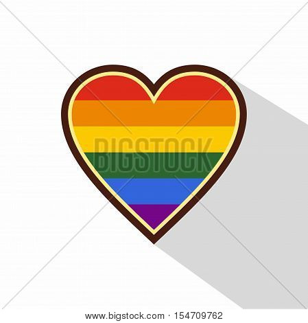 Heart in LGBT color icon. Flat illustration of heart in LGBT color vector icon for web
