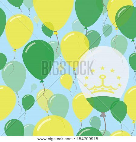 Tajikistan National Day Flat Seamless Pattern. Flying Celebration Balloons In Colors Of Tadzhik Flag
