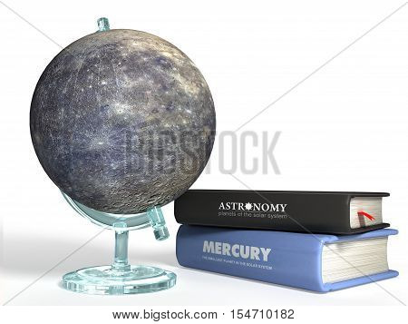 globe of Mercury on the background of thematic books