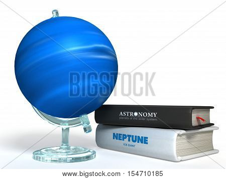globe of Neptune on the background of thematic books