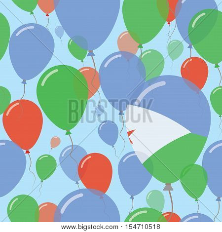 Djibouti National Day Flat Seamless Pattern. Flying Celebration Balloons In Colors Of Djibouti Flag.