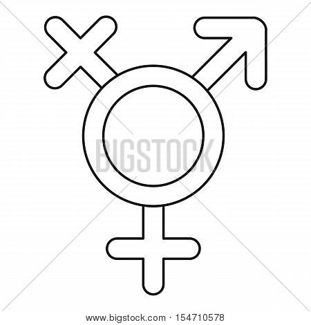 Transgender sign icon. Outline illustration of transgender sign vector icon for web