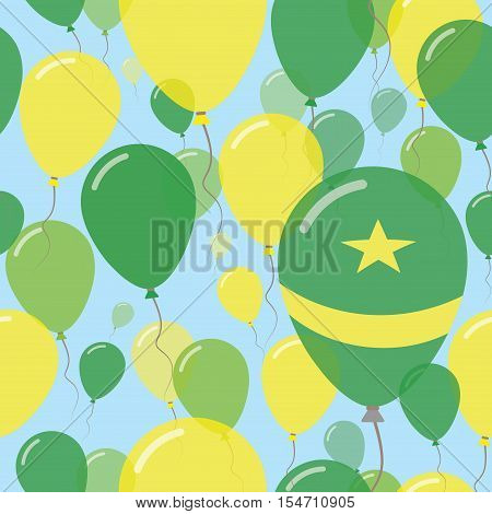 Mauritania National Day Flat Seamless Pattern. Flying Celebration Balloons In Colors Of Mauritanian