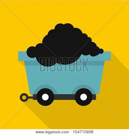 Cart on wheels with coal icon. Flat illustration of cart on wheels with coal vector icon for web