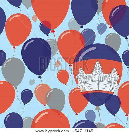 Cambodia National Day Flat Seamless Pattern. Flying Celebration Balloons In Colors Of Cambodian Flag