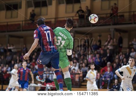 VALENCIA, SPAIN - OCTOBER 28th: (L) Buendiaand Prieto during Spanish league match between Levante UD FS and Catgas Energia at Cabanyal Stadium on October 20, 2016 in Valencia, Spain