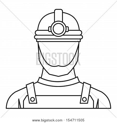 Male miner icon. Outline illustration of male miner vector icon for web