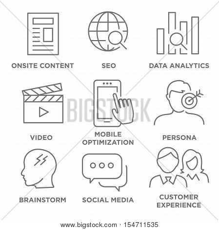 Marketing Strategy Icon Set