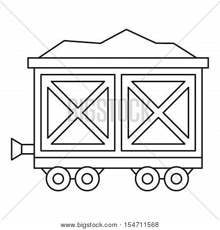 Cart on wheels with gold icon. Outline illustration of cart on wheels with gold vector icon for web