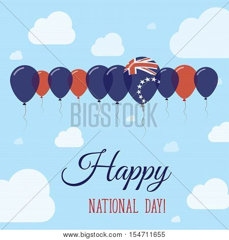 Cook Islands National Day Flat Patriotic Poster. Row Of Balloons In Colors Of The Cook Islander Flag