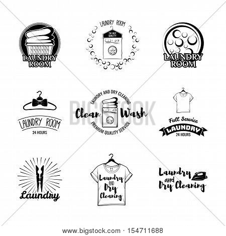 Laundry and dry cleaning. Labels and Badges Set. Illustration Vector