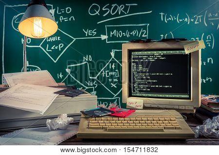 Closeup of vintage computing laboratory on old table