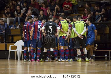 VALENCIA, SPAIN - OCTOBER 28th: Levante team during Spanish league match between Levante UD FS and Catgas Energia at Cabanyal Stadium on October 20, 2016 in Valencia, Spain