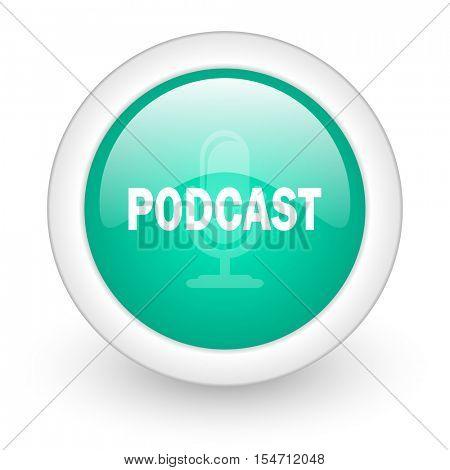 podcast round glossy web icon on white background