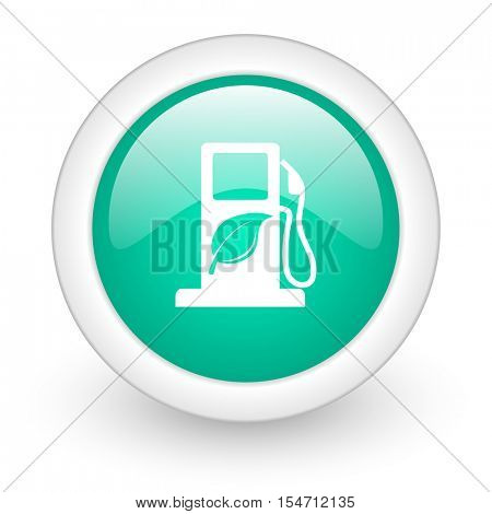biofuel round glossy web icon on white background