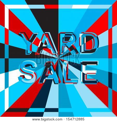 Big sale poster with YARD SALE text. Advertising blue and red  banner template