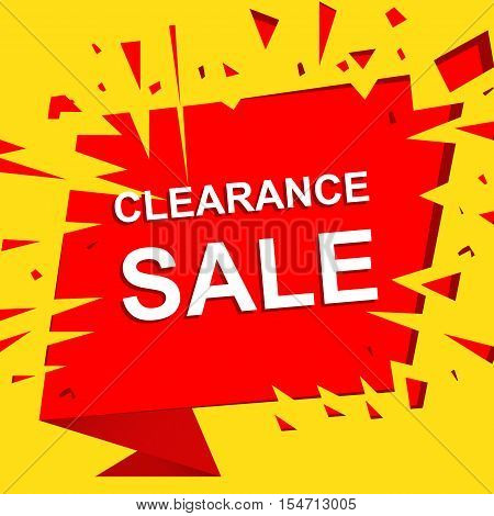 Big sale poster with CLEARANCE SALE text. Advertising boom and red  banner template